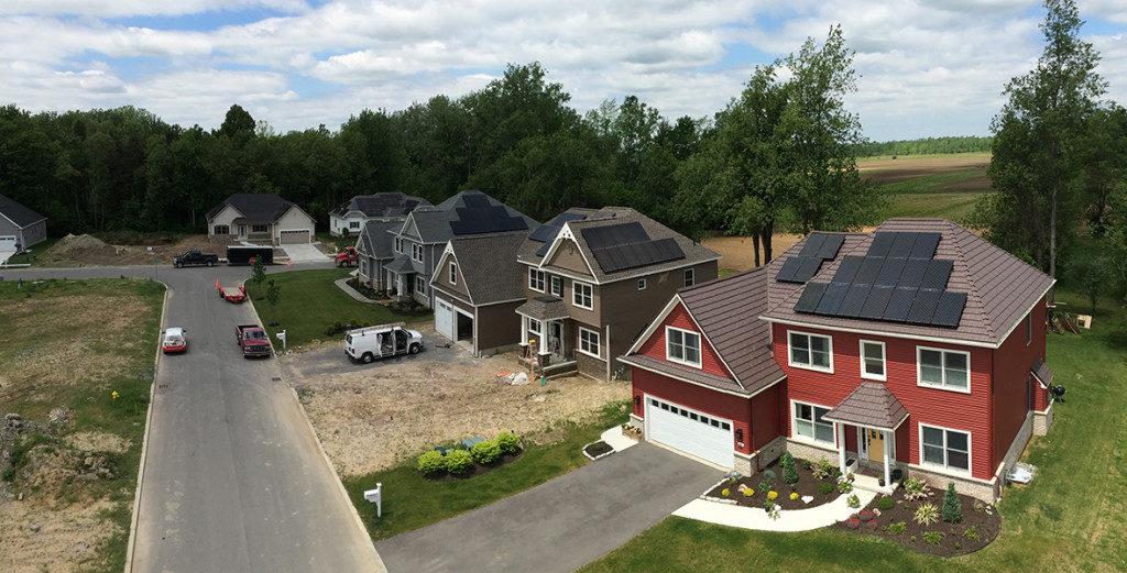 solar panels in a new development