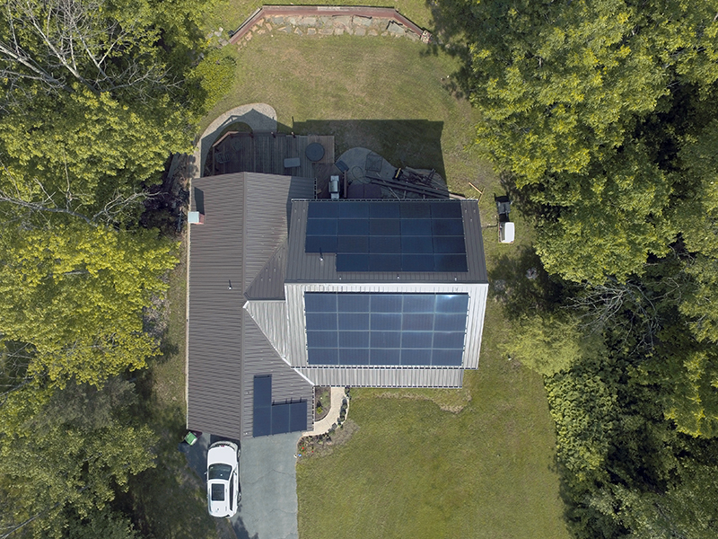 Arial view of solar panels on a house in Western New York