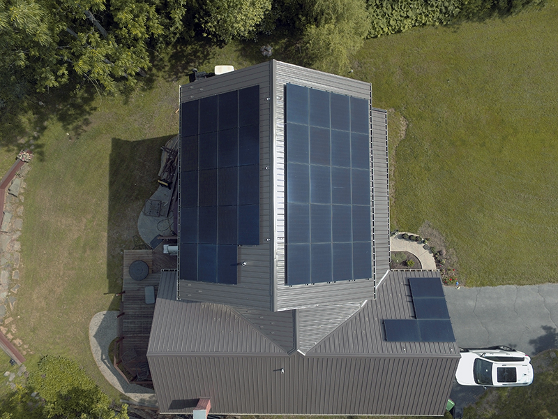 Arial view of solar panels on a home in buffalo