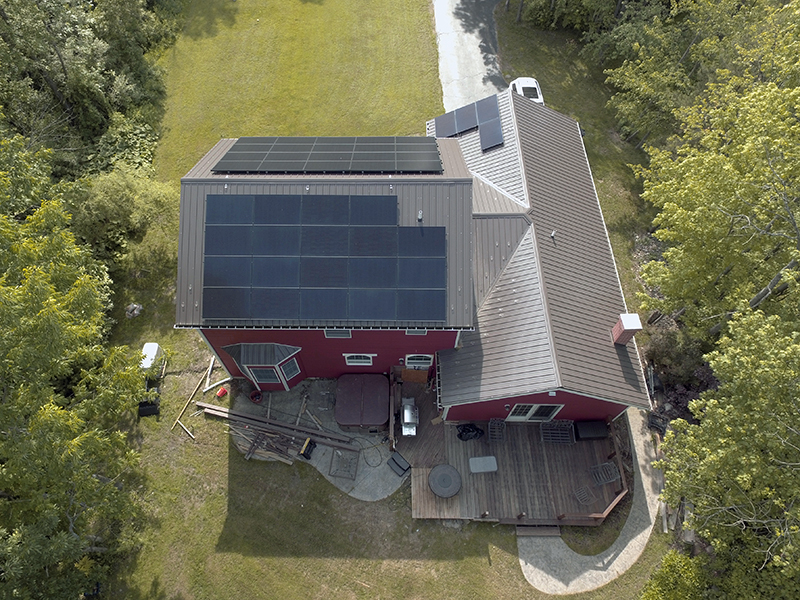 arial view of solar installation in Buffalo
